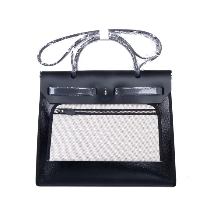 Hermès(爱马仕)Herbag防水布系列 纯黑色 31cm 银扣 现货