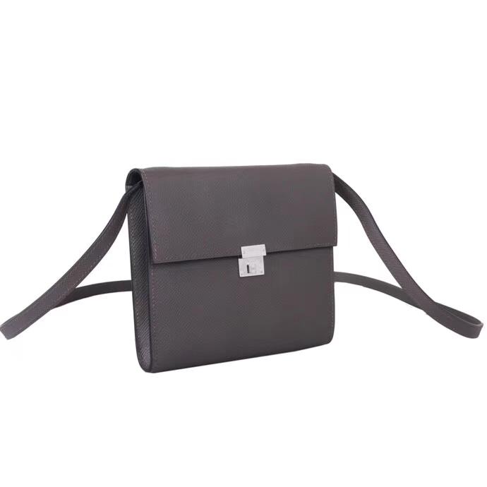 Hermès(爱马仕)clic挎包 8F锡器灰 原厂epsom皮 银扣 16cm