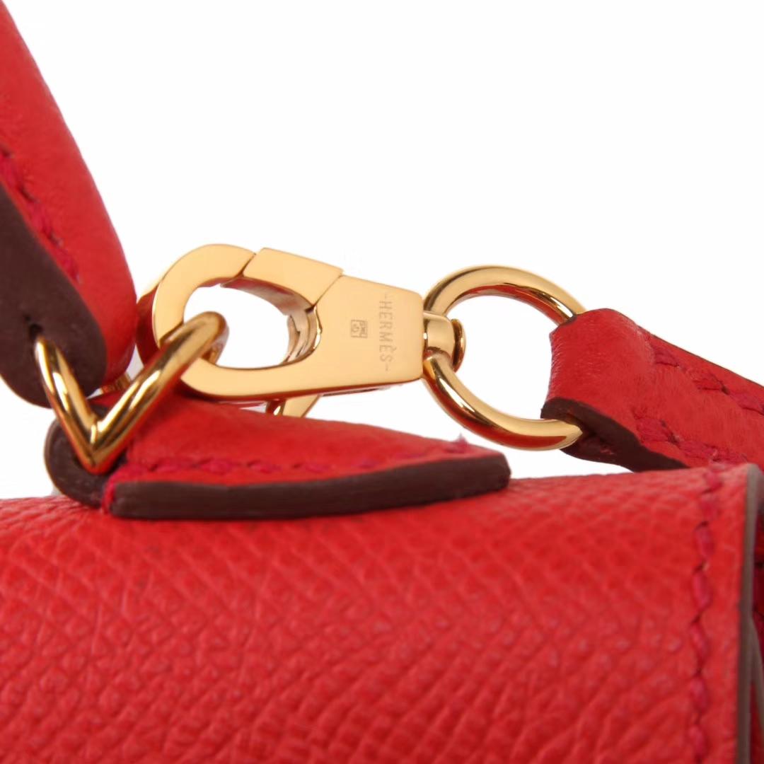 Hermès(爱马仕)Minikelly迷你凯莉 蕃茄红 原厂御用Epsom皮 金扣 2代