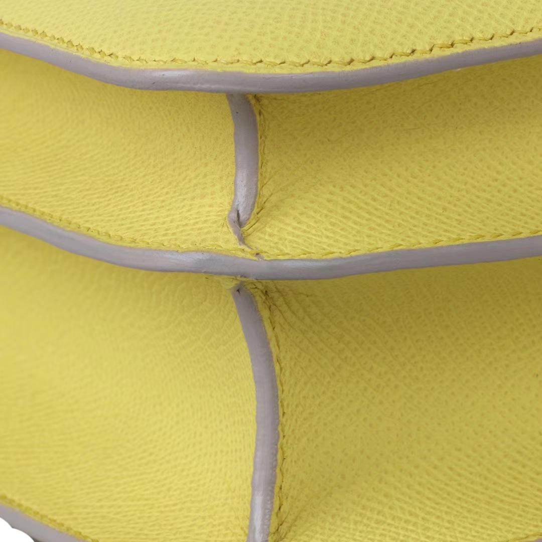 Hermès(爱马仕)Constace空姐包 鹅蛋黄 原厂御用epsom 金扣 19cm