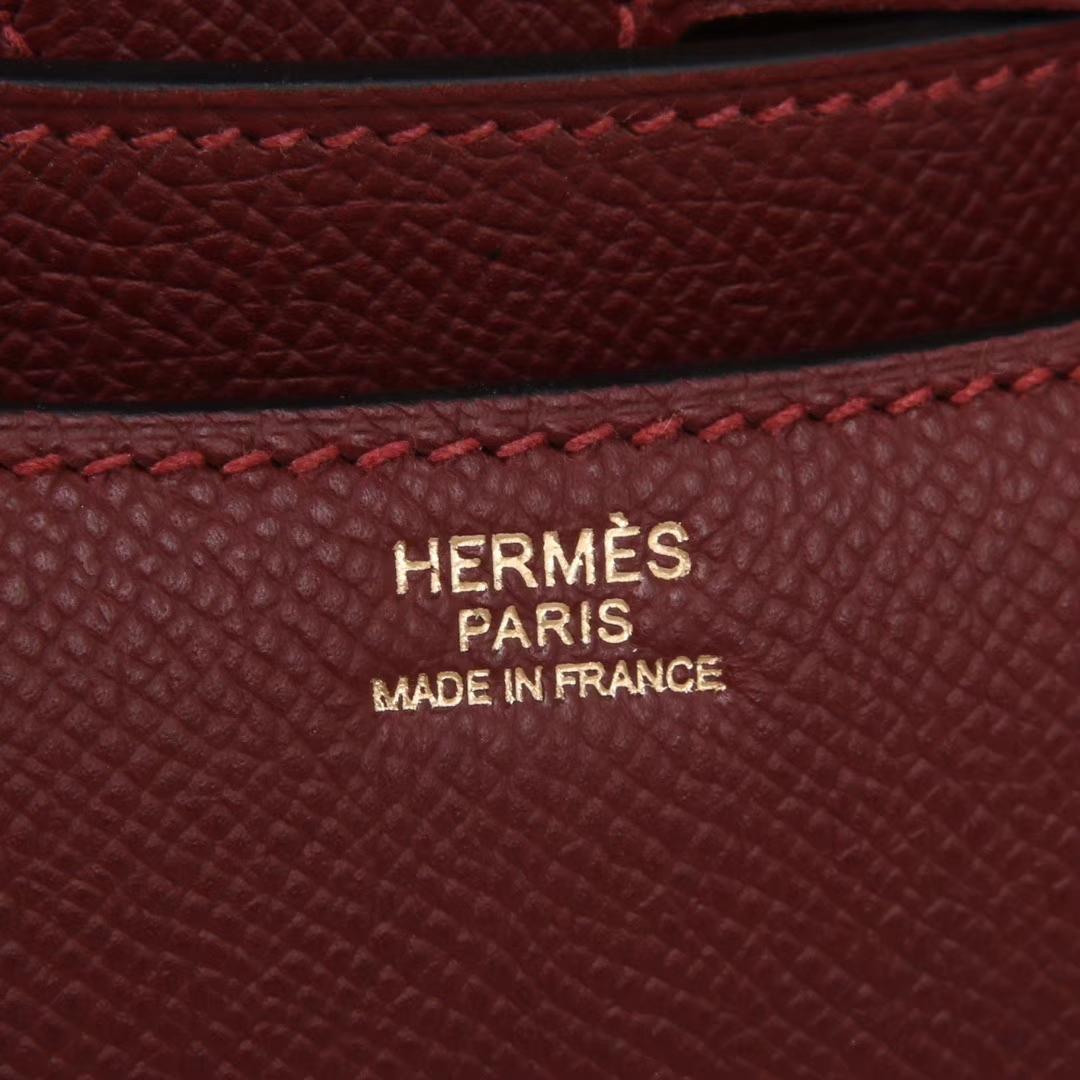 Hermès(爱马仕)Constace空姐包 爱马仕红 原厂御用epsom 金扣 19cm