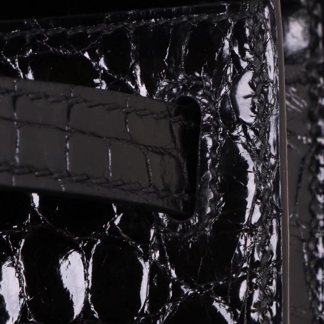 Hermès(爱马仕)Kelly Cut长款手包 黑色 鳄鱼皮 金扣 31CM