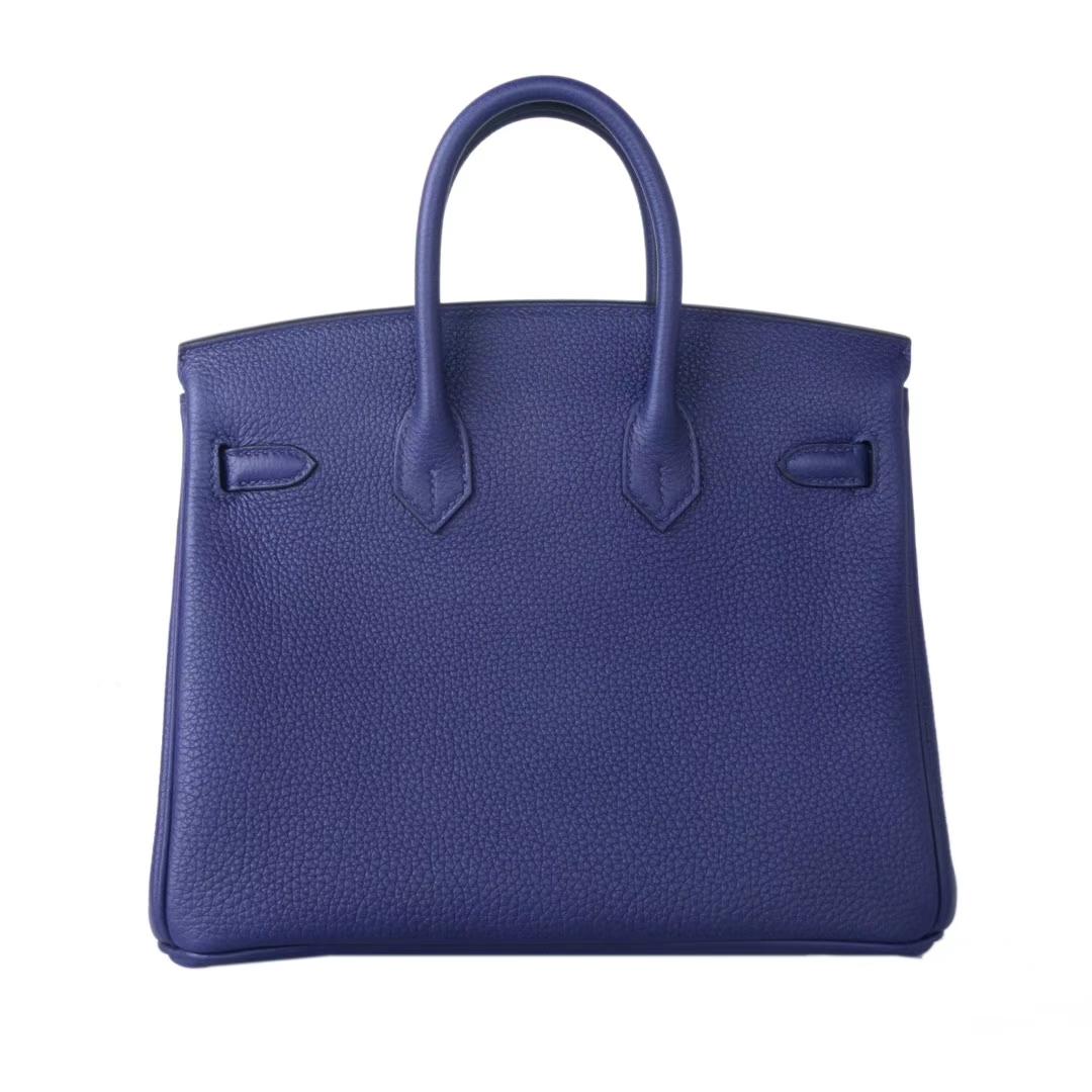 Hermès(爱马仕)birkin铂金包 M3墨水蓝双杠彩条 内拼 酒红 togo 银扣 25cm