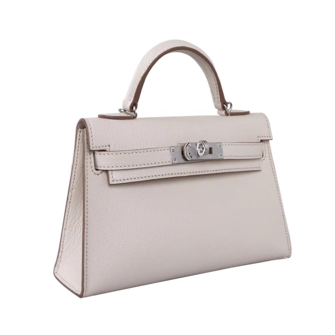 Hermès(爱马仕)Minikelly迷你凯莉 奶昔白 山羊皮 银扣 二代