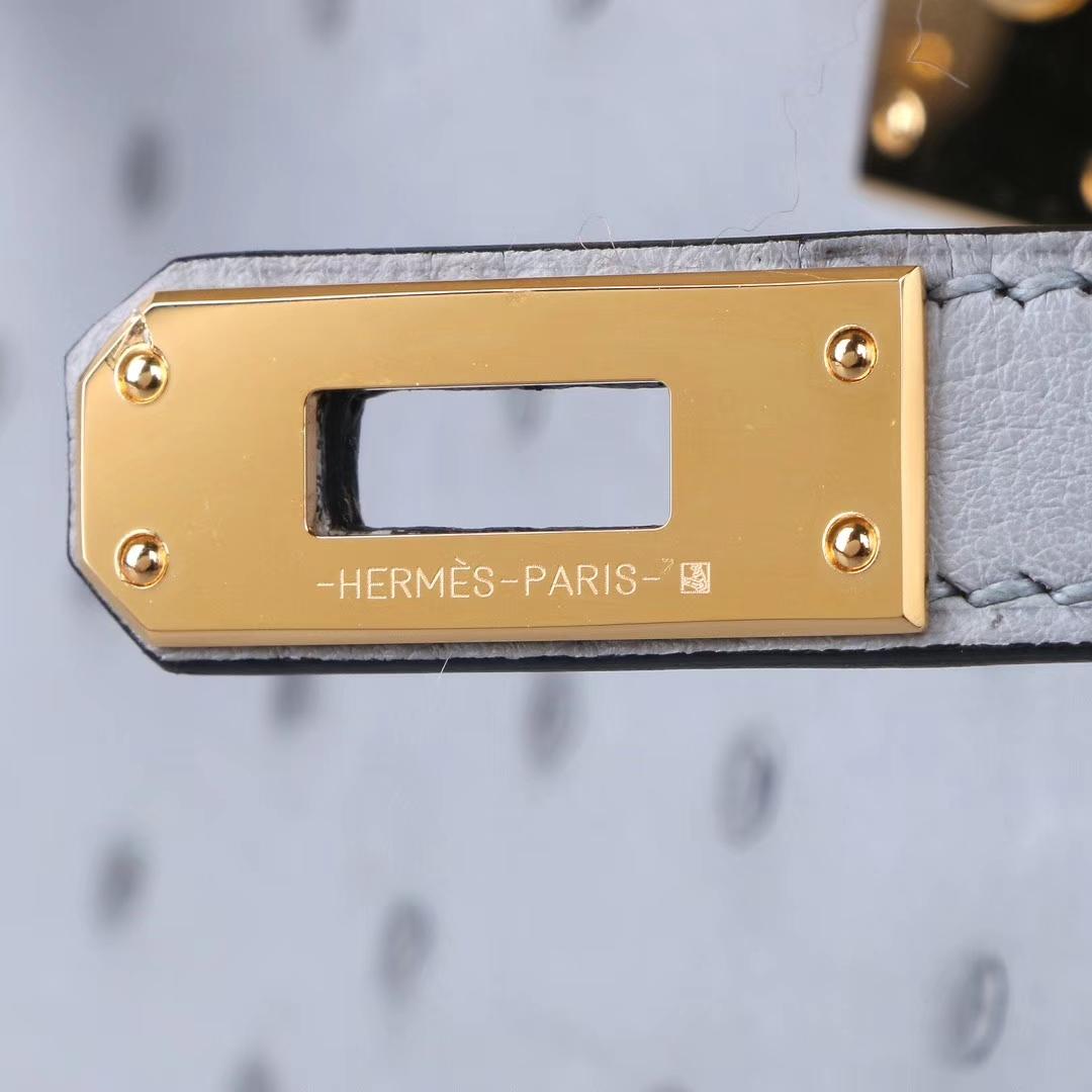 Hermès(爱马仕)Minikelly迷你凯莉 冰川蓝 鸵鸟纹 22cm