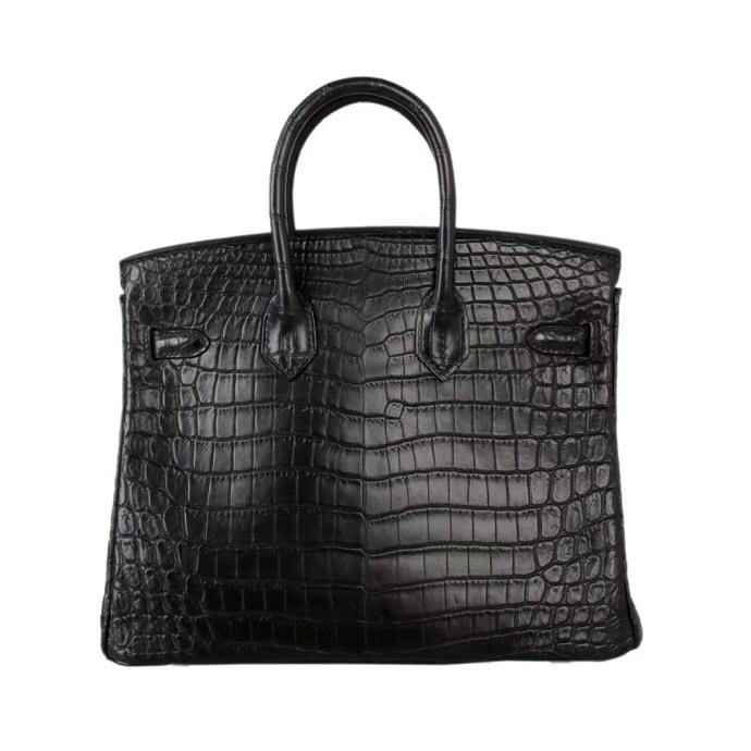 Hermès(爱马仕)Birkin 铂金包 黑色 哑光尼罗鳄鱼 金扣 30cm