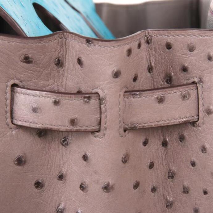 Hermès(爱马仕)Birkin 铂金包 斑鸠灰拼桃红拼马卡龙蓝 鸵鸟皮 金扣 30cm