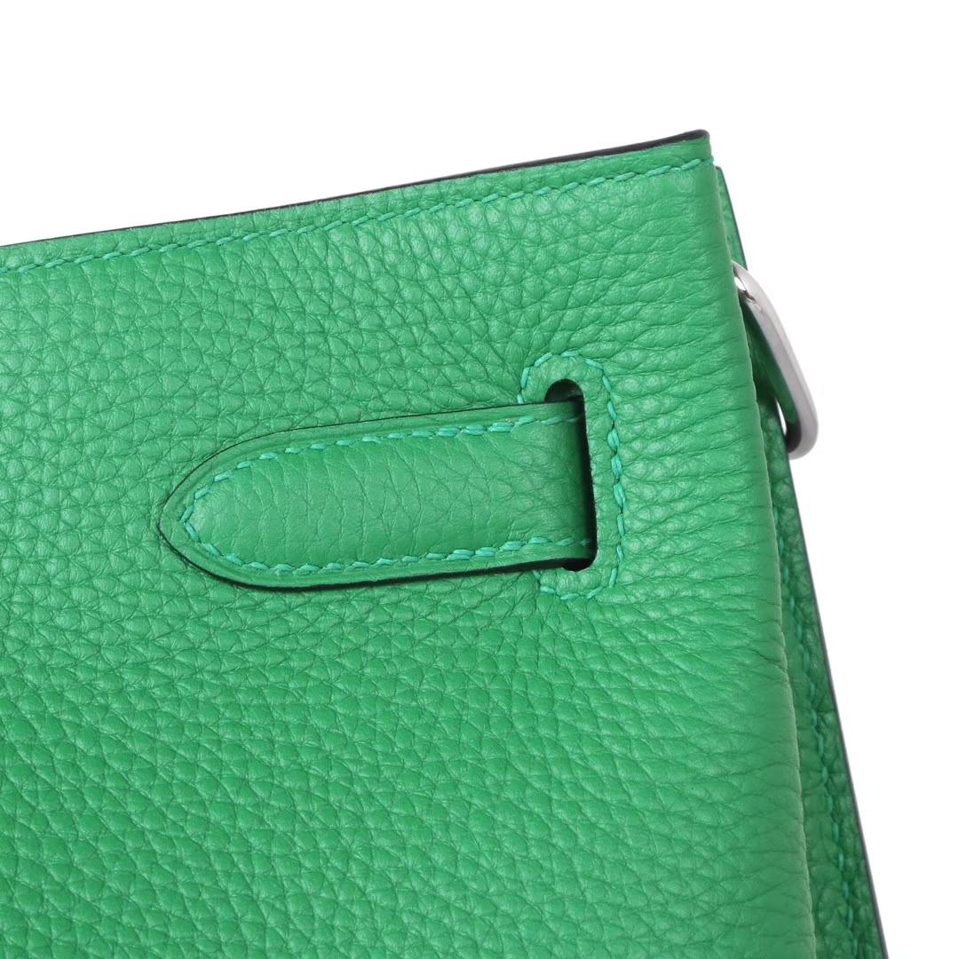 Hermès(爱马仕)soKelly单肩包 1k竹子绿 togo 银扣 22cm
