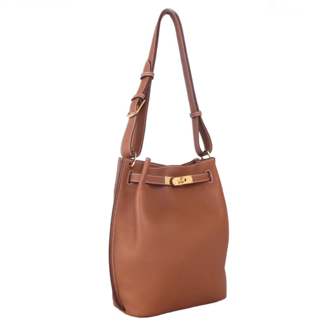 Hermès(爱马仕)soKelly单肩包 金棕色 togo 金扣 22cm