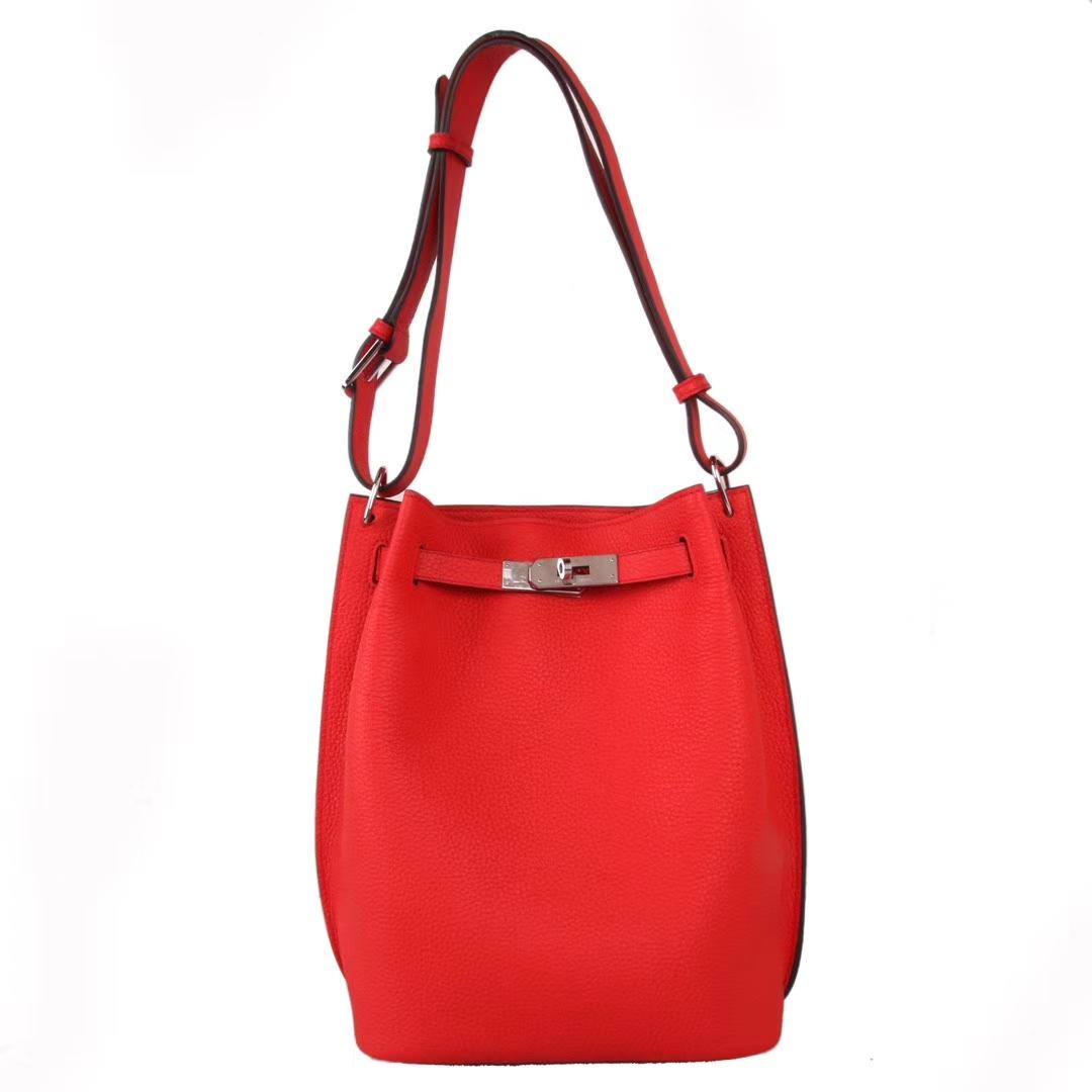 Hermès(爱马仕)soKelly单肩包 中国红 togo 银扣 22cm