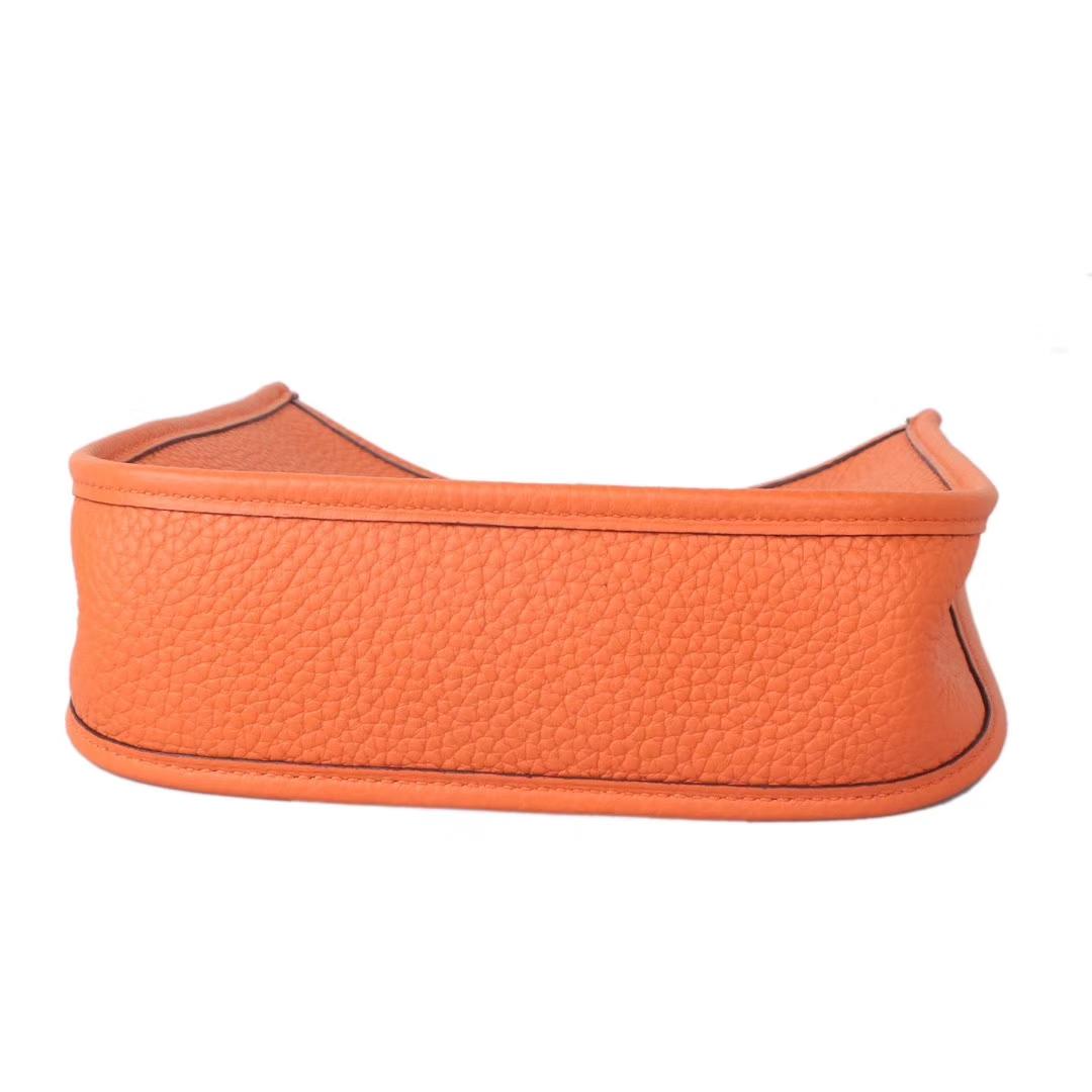 Hermès(爱马仕)mini evelyne挎包 橙色 togo 原版皮 17cm