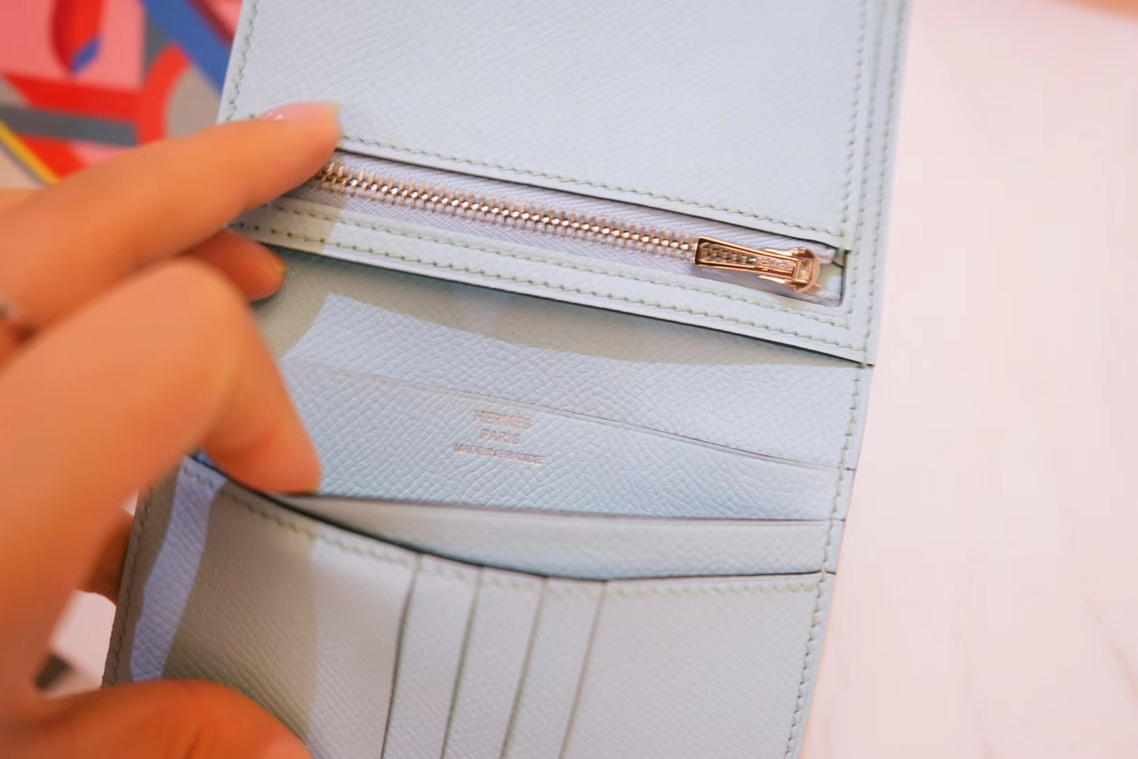 Hermès(爱马仕)Bearn 小H扣 短夹 马卡龙蓝 epsom皮 银扣