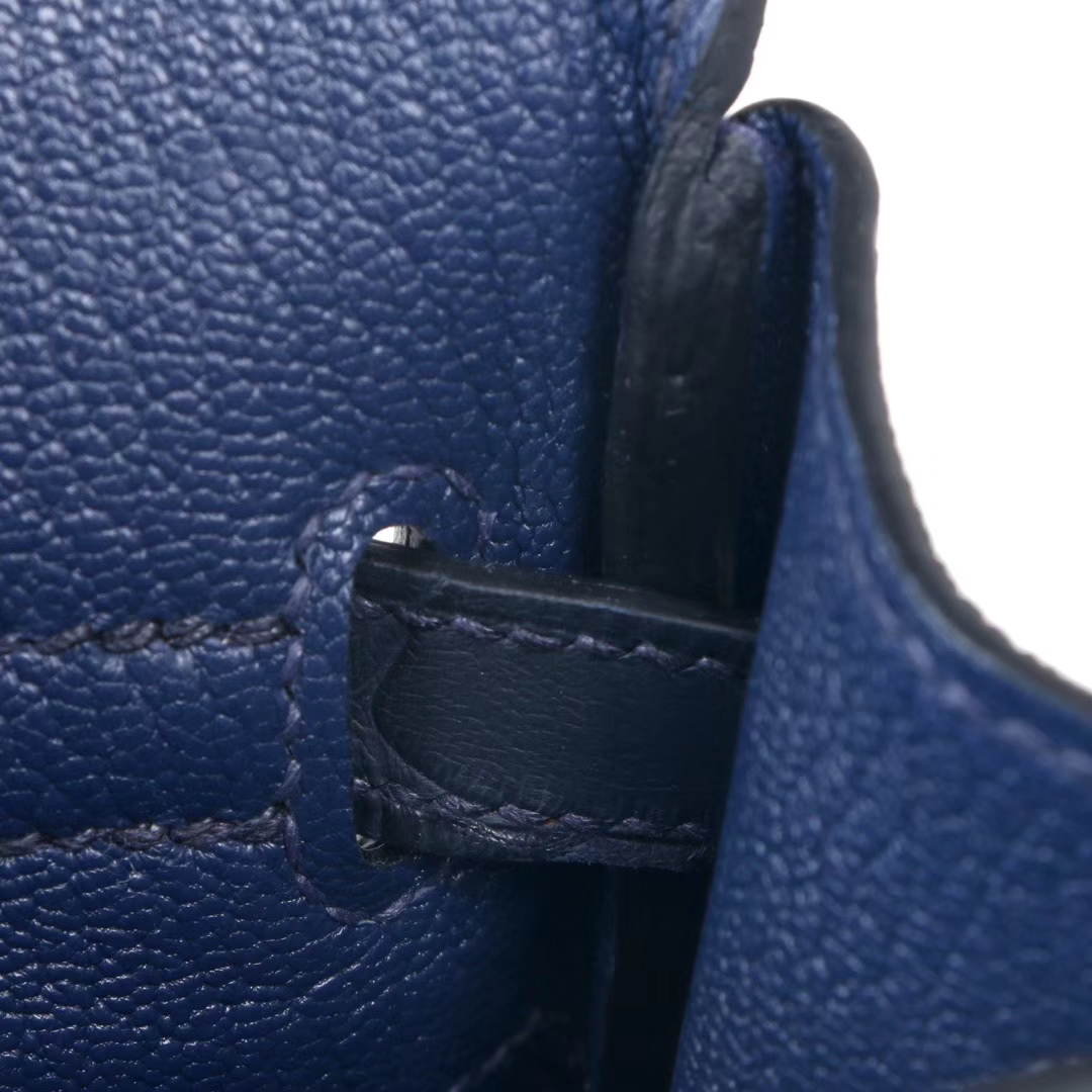 Hermès(爱马仕)birkin铂金包 宝石蓝togo拼午夜蓝亚光鳄鱼 金扣 25cm