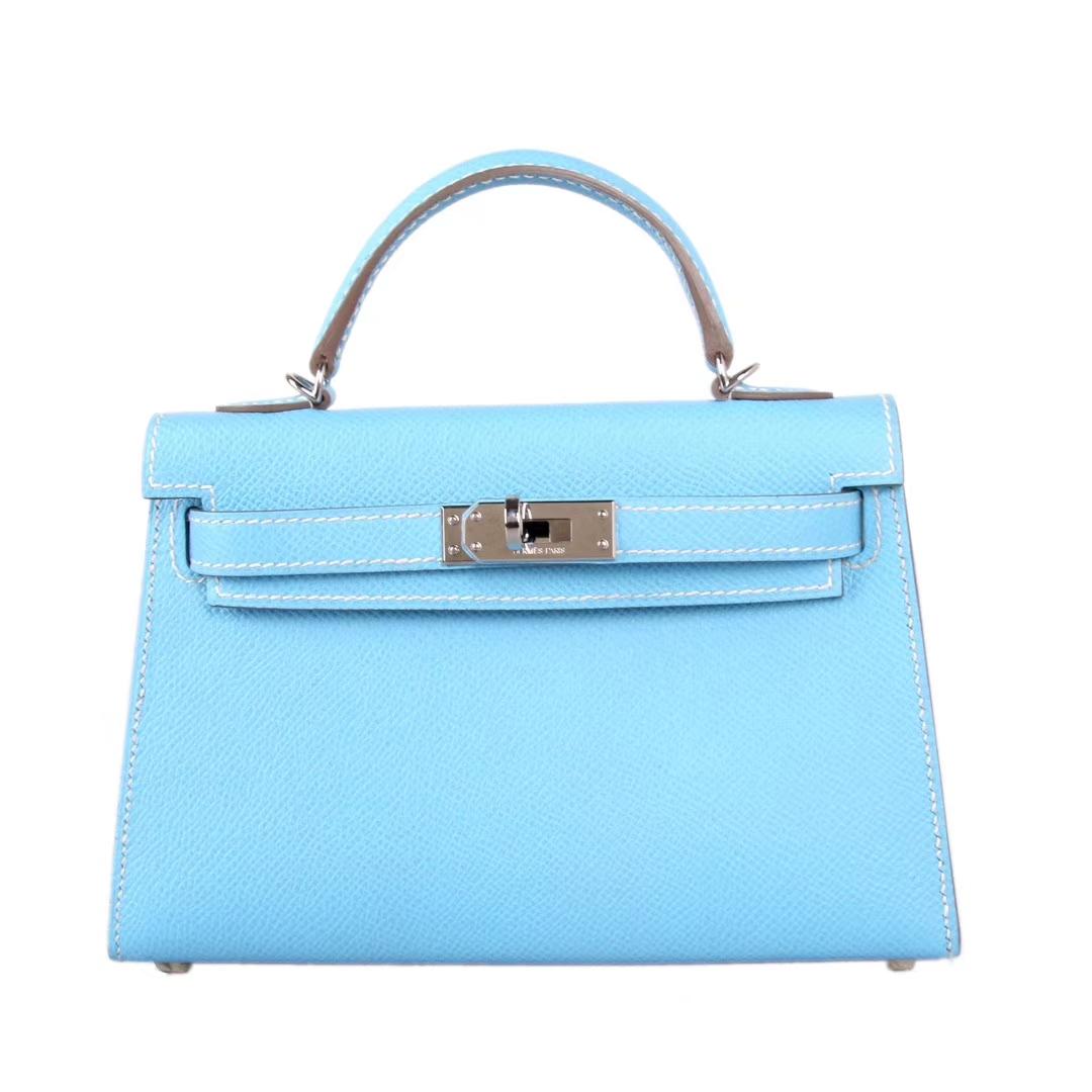 Hermès(爱马仕)Minikelly迷你凯莉 糖果蓝 原厂Epsom皮 银扣 2代