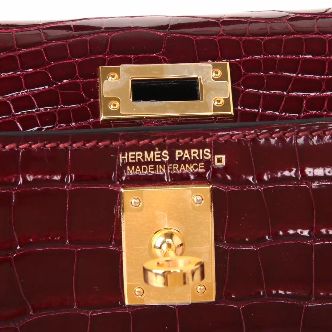 Hermès(爱马仕)Minikelly迷你凯莉 F5勃艮第酒红 亮面鳄鱼 金扣 2代