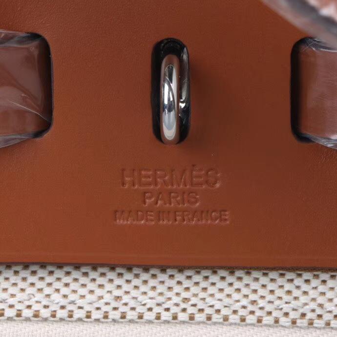 Hermès(爱马仕)Herbag 驼色马鞍皮拼 原色帆布 31cm 现货