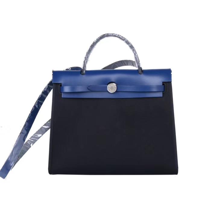 Hermès(爱马仕)Herbag 电光蓝拼马鞍皮 原色帆布 31cm 现货