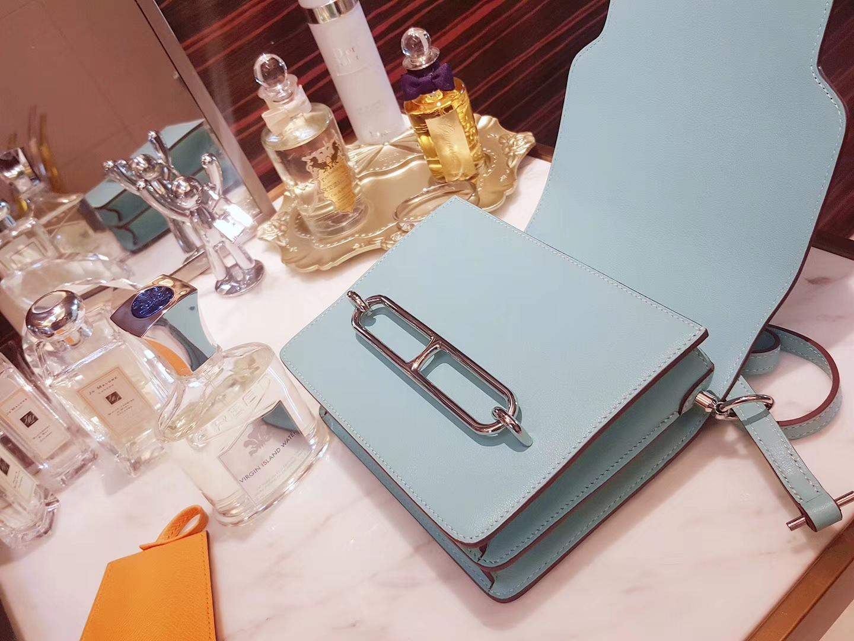 Hermès(爱马仕)roulis猪鼻 马卡龙蓝 顶级Swift皮 银扣 19cm
