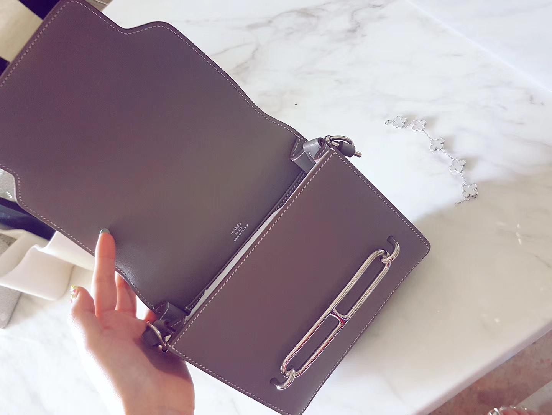 Hermès(爱马仕)roulis猪鼻 大象灰 顶级Swift皮 银扣 19cm