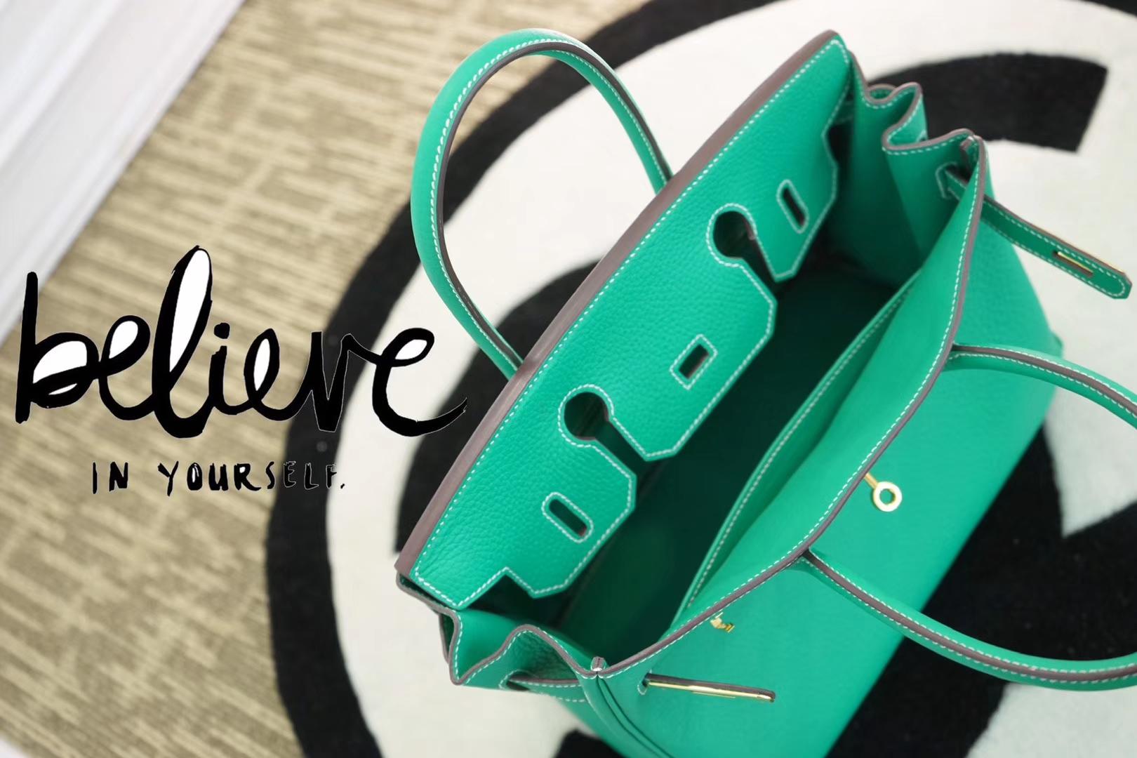Hermès(爱马仕)birkin铂金包 竹子绿 Togo 金扣 30cm
