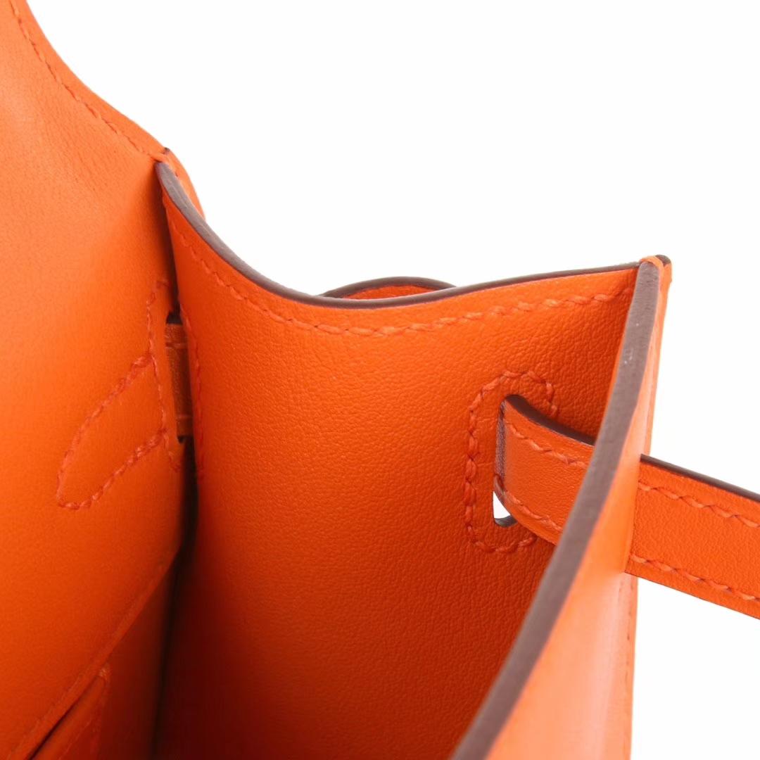 Hermès(爱马仕)mini kelly迷你凯莉 橙色 Swift皮 银扣 22cm 一代