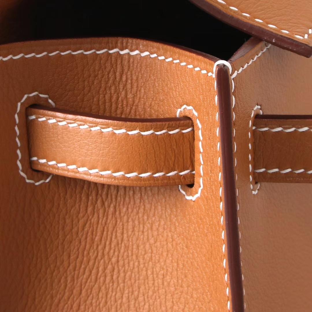 Hermès(爱马仕)mini kelly迷你凯莉 金棕色 Swift皮 银扣 22cm 一代