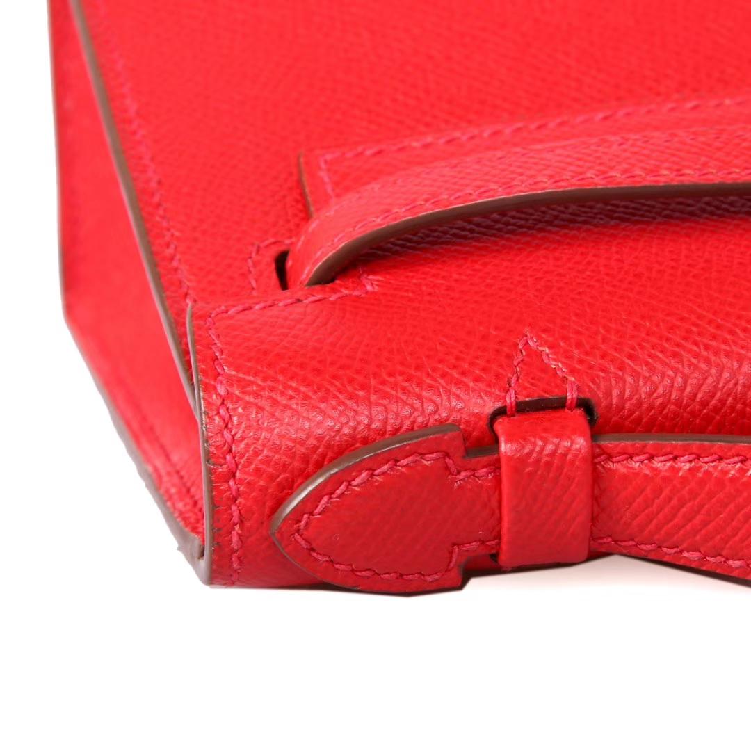 Hermès(爱马仕)mini kelly迷你凯莉 中国红 Epsom 银扣 22cm 一代