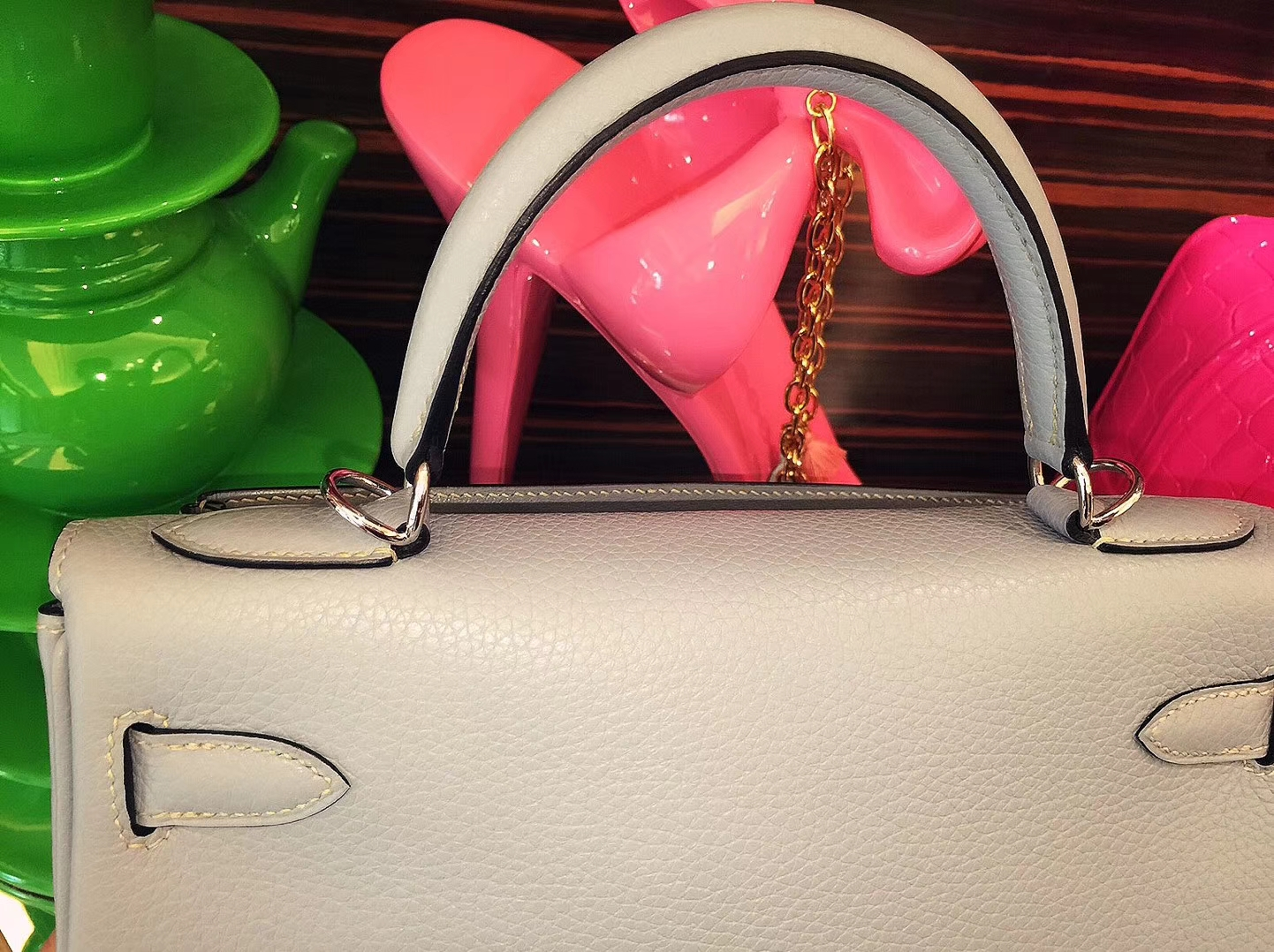 Hermès(爱马仕)Kelly凯莉包 亚麻蓝 Togo 银扣 28cm