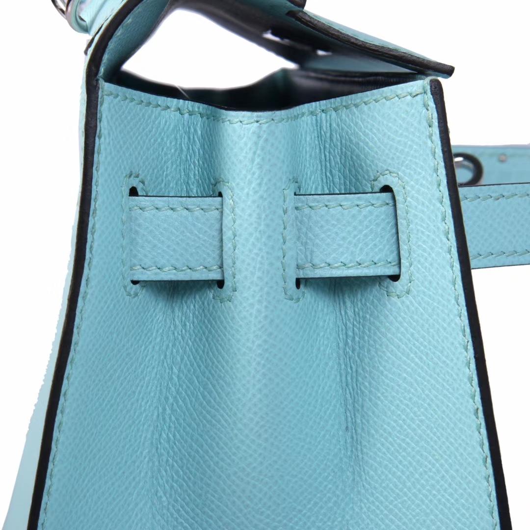 Hermès(爱马仕)Kelly凯莉包 马卡龙蓝 原版Epsom皮 银扣 28cm