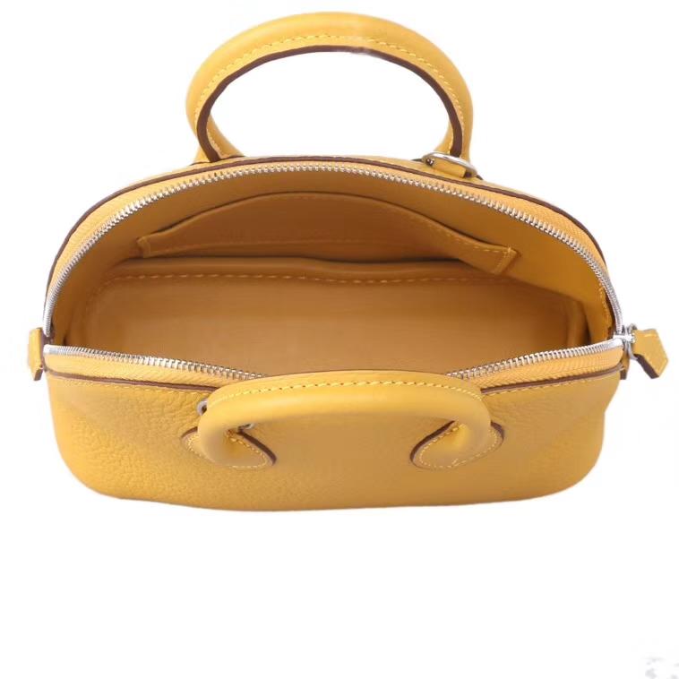 Hermès(爱马仕)mini bolid 保龄包 琥珀黄 togo 银扣 18cm