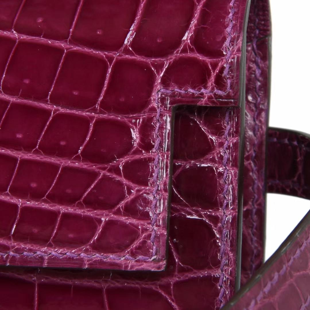 Hermès(爱马仕)kelly凯莉钱夹 5L葡萄紫 亮面鳄鱼 银扣