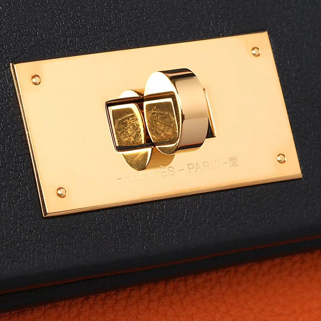 Hermès(爱马仕)Kelly 2424 橙色拼黑色 togo 金扣 29cm