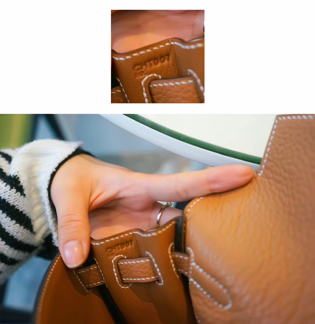 Hermès(爱马仕)kelly ado 双肩包 金棕色 togo 金扣 22cm