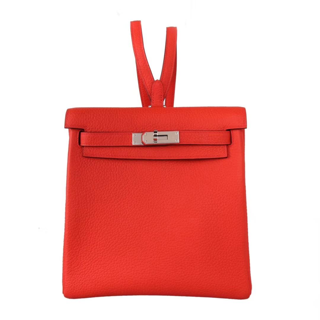Hermès(爱马仕)kelly ado 双肩包 中国红 togo 银扣 22cm