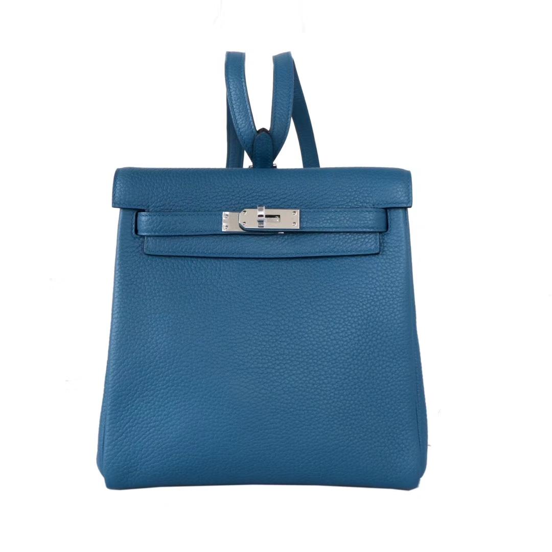 Hermès(爱马仕)kelly ado 双肩包 鸭子蓝 togo 银扣 22cm