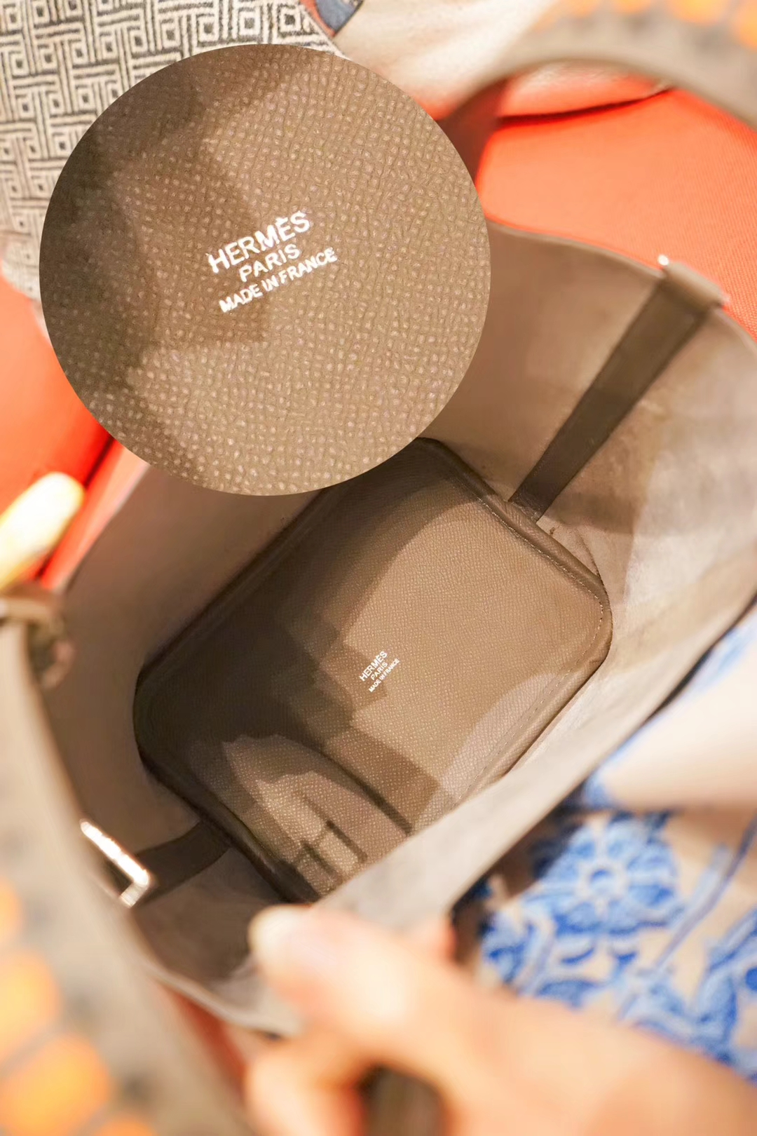 Hermès(爱马仕)Picotin菜篮包 大象灰 编织手柄 epsom皮 银扣 18cm