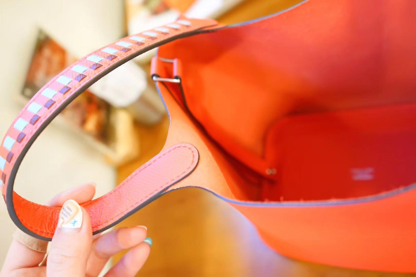 Hermès(爱马仕)Picotin菜篮包 中国红 编织手柄 epsom皮 银扣 18cm