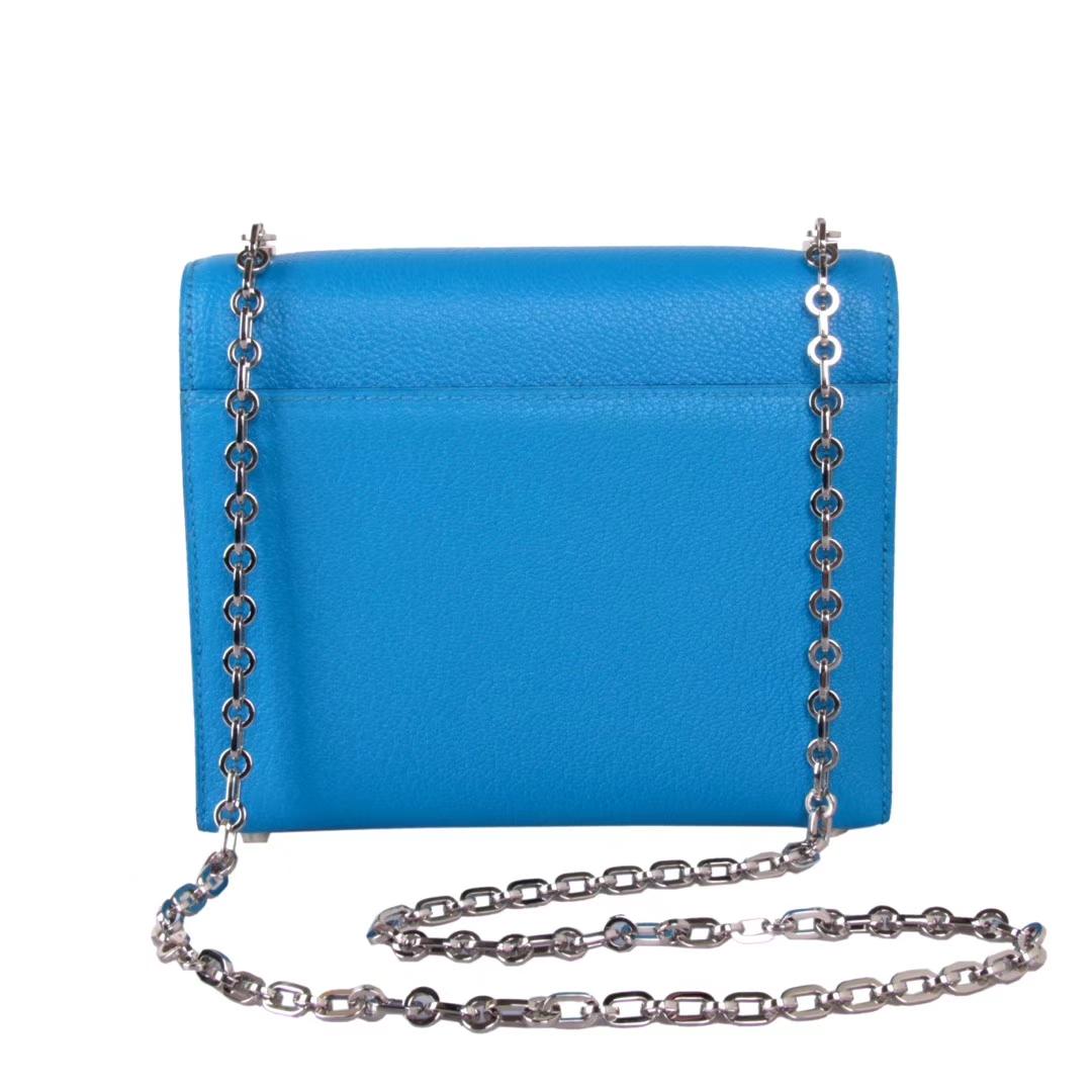 Hermès(爱马仕)Verrou插销包锁链包 水妖蓝 羊皮 银扣 17cm