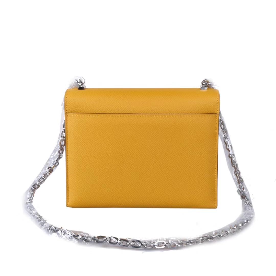 Hermès(爱马仕)Verrou插销包锁链包 琥珀黄 原厂御用epsom皮 银扣 17cm