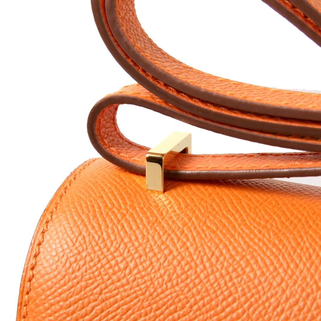 Hermès(爱马仕)Constace空姐包 橙色 原厂御用epsom皮 金扣 19cm