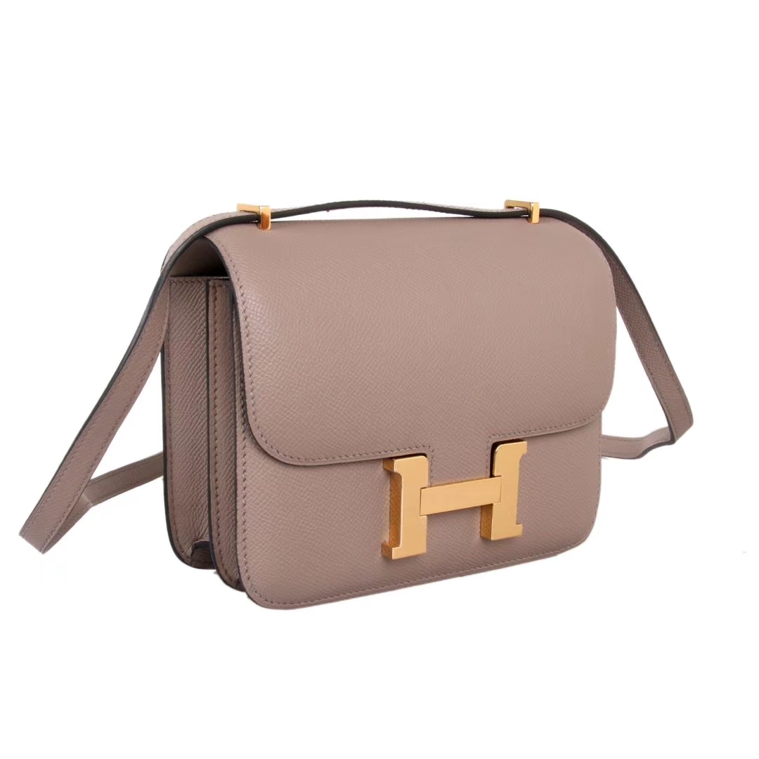 Hermès(爱马仕)Constace空姐包 沥青灰 原厂御用epsom皮 金扣 19cm