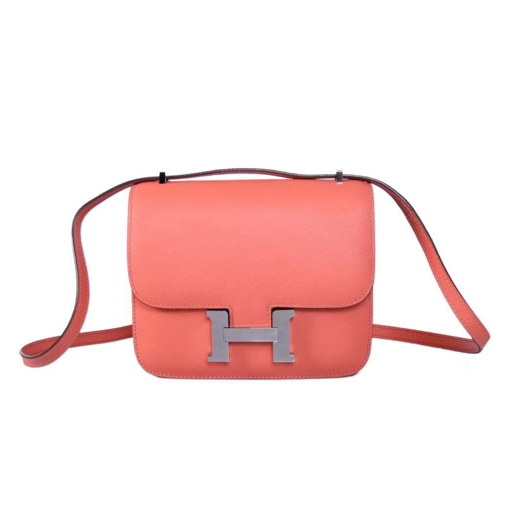 Hermès(爱马仕)Constace空姐包 火烈鸟粉 原厂御用epsom皮 银扣 19cm