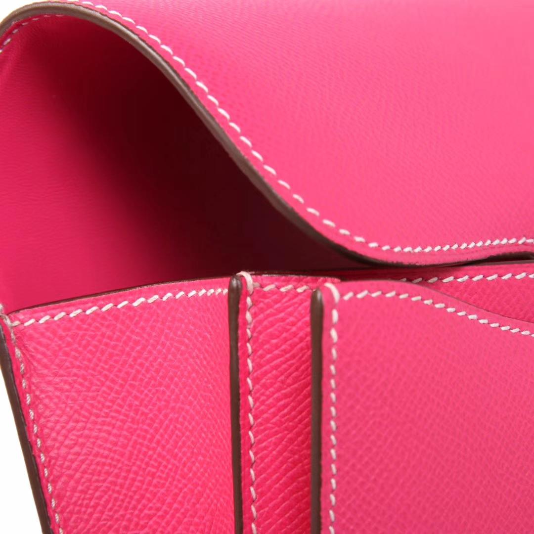 Hermès(爱马仕)Constace空姐包 糖果粉 原厂御用epsom皮 银扣 19cm