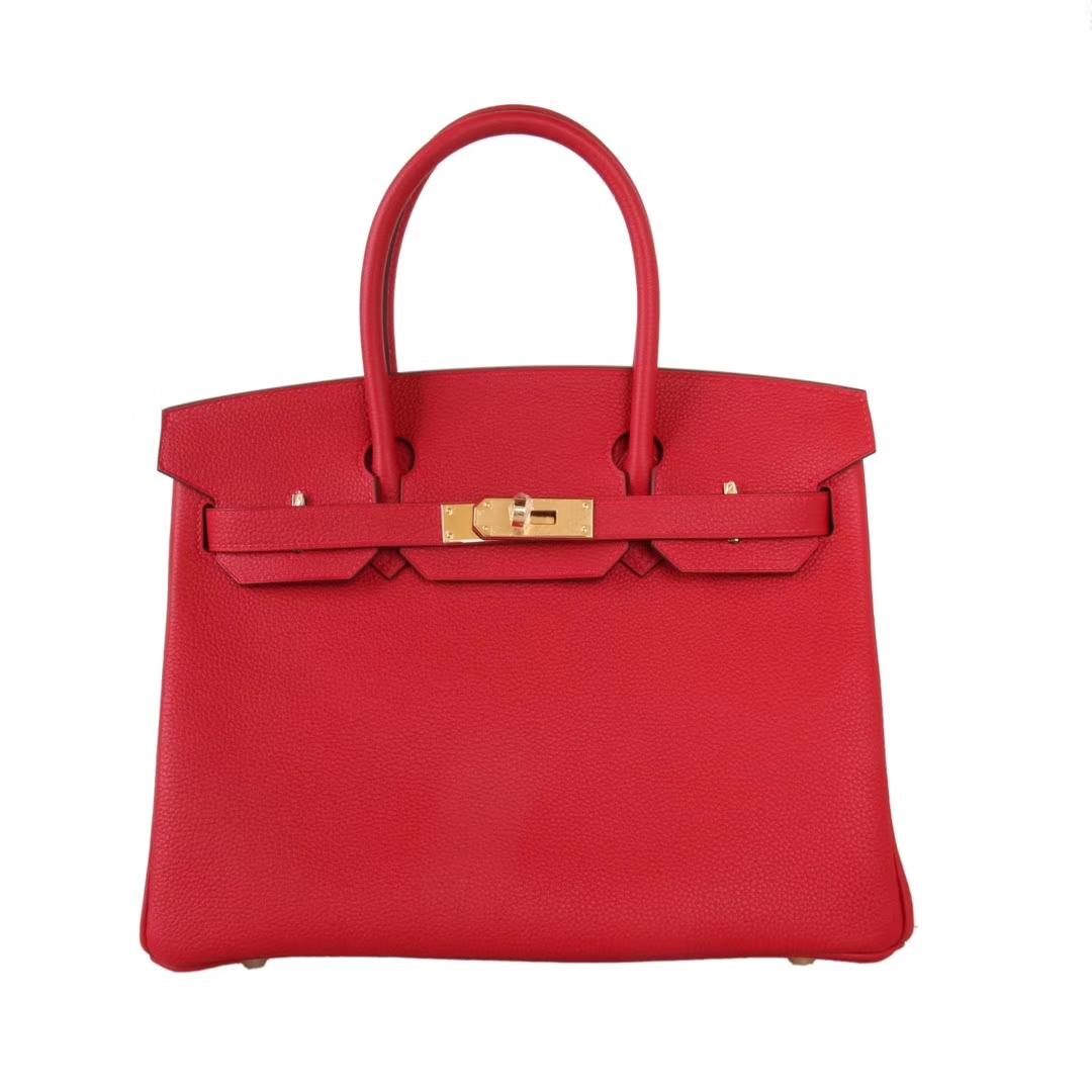 Hermès(爱马仕)Birkin铂金包 国旗红 togo 金扣 30cm