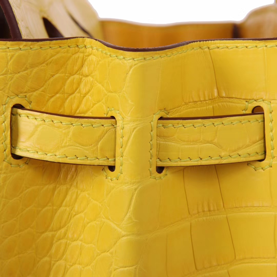 Hermès(爱马仕)Birkin铂金包 鹅蛋黄 鳄鱼皮 togo 金扣 25cm