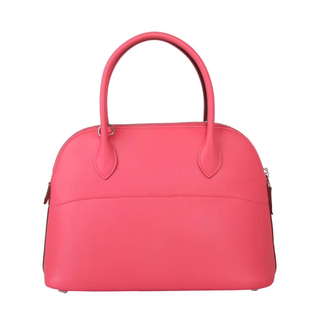Hermès(爱马仕)Bolide保龄球包 唇膏粉 原厂御用swift皮 银扣