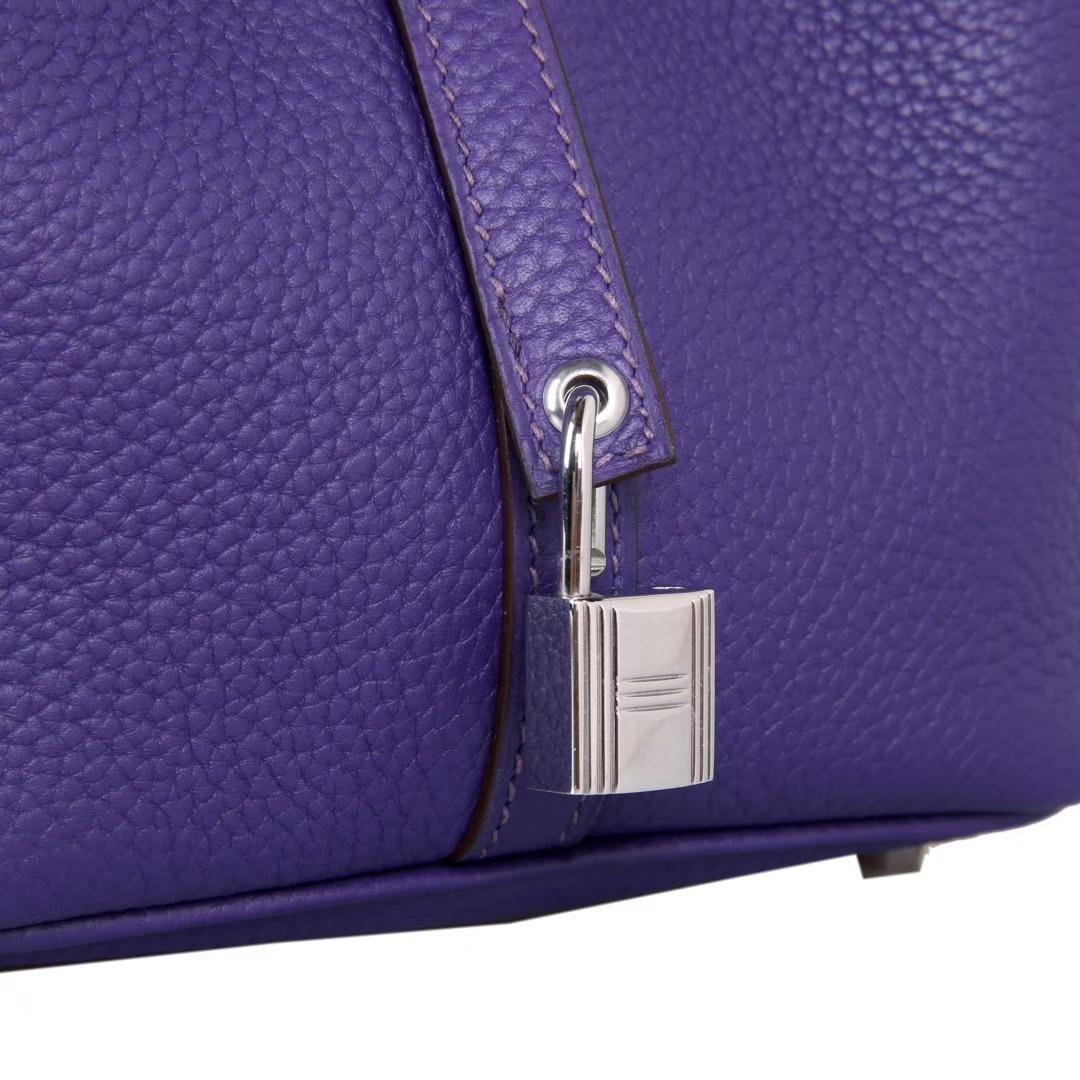 Hermès(爱马仕)Picotin菜篮 梦幻紫 Togo 银扣 22cm