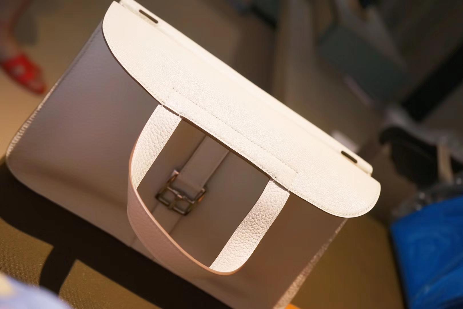 Hermès(爱马仕)Halzan手提包 奶昔白 马鞍皮 TOGO 银扣 30cm