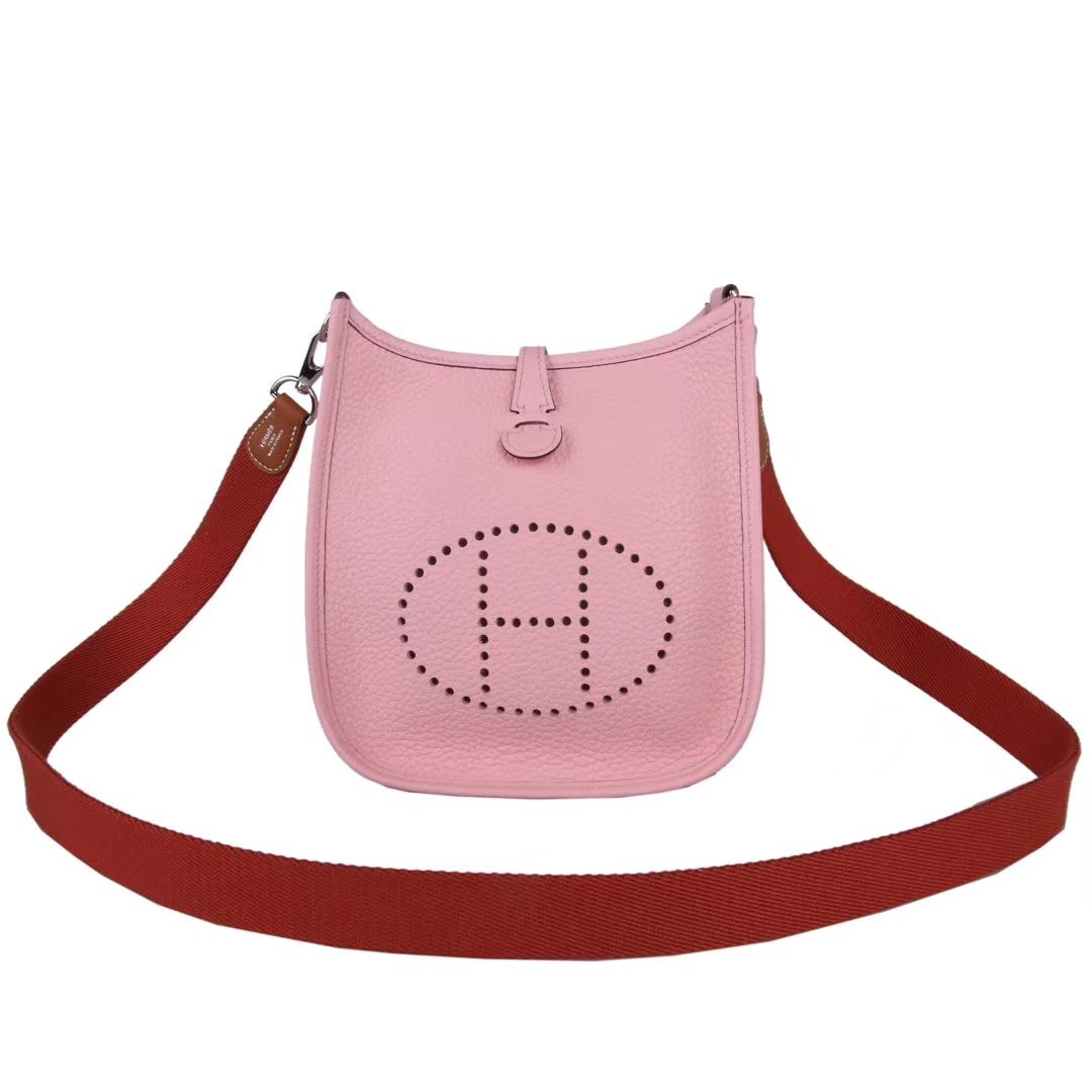 Hermès(爱马仕)Mini Evelyne 粉色 togo