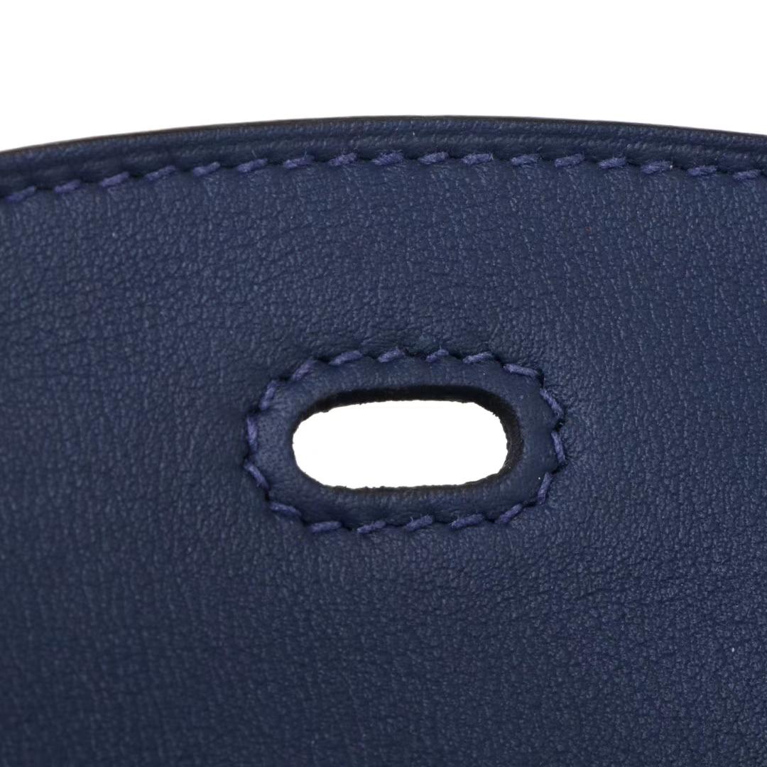 Hermès(爱马仕)新款 lindy琳迪包 墨水蓝 编织肩带 swift皮 26cm 银扣